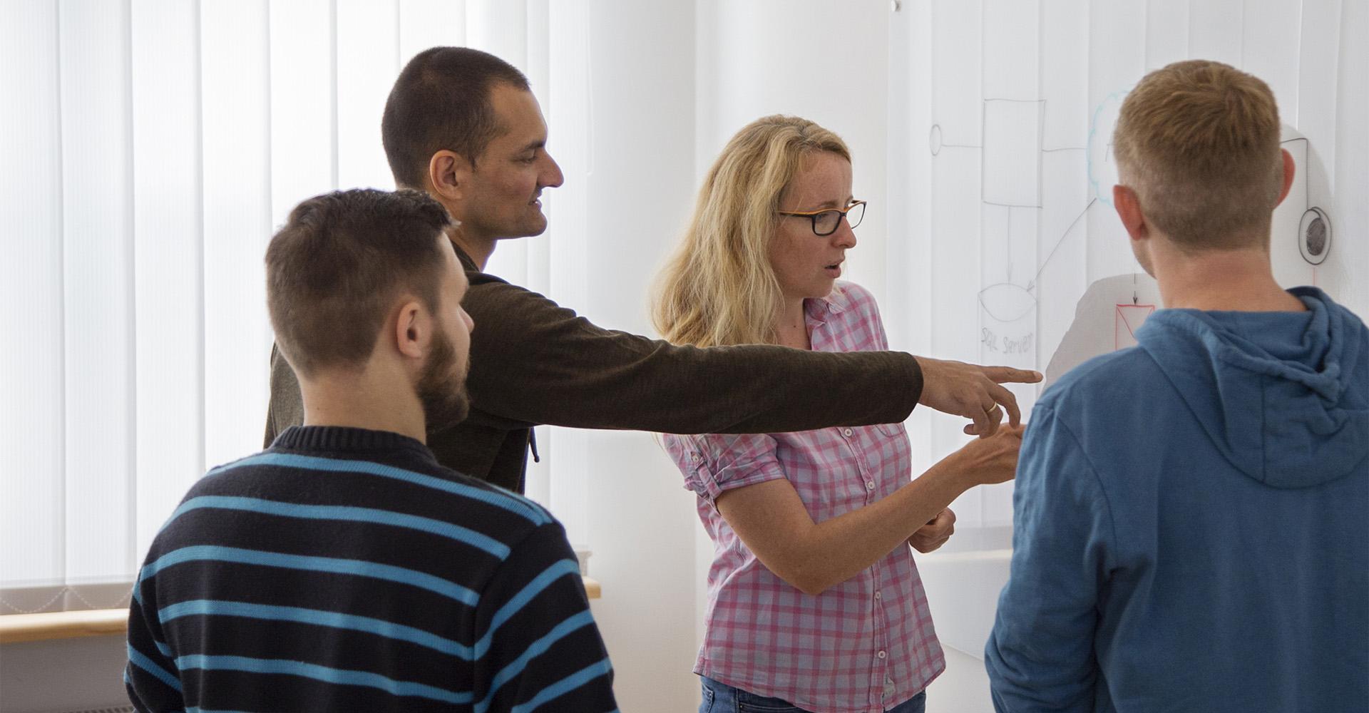 Mitarbeiter von Softwarekontor beim Teamwork. Entwicklung, Anforderungen, Spezialist, Prozesse.