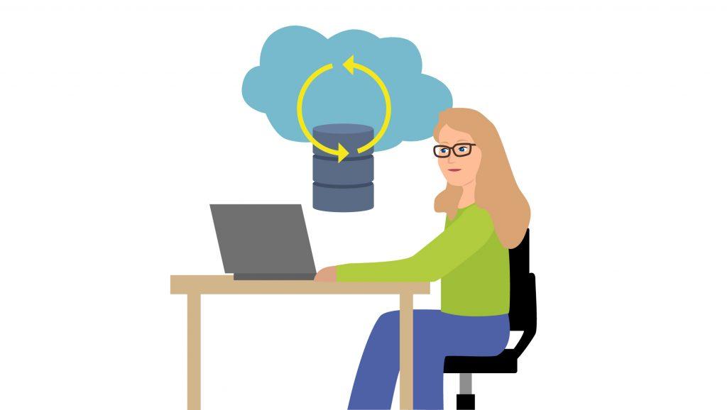 Illustration von Miriam beim Arbeiten mit Azure