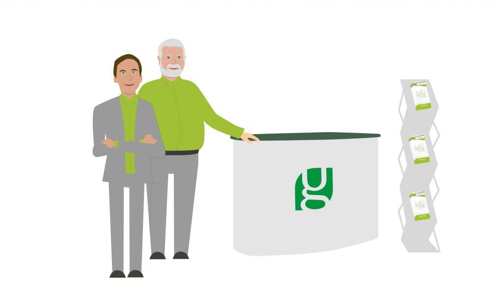 Illustration von Peter und Sven, die an ihrem Stand von Unternehmensgrün auf der Biofach-Messe stehen
