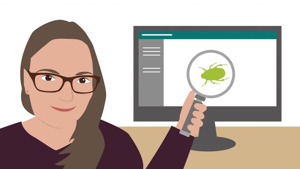 Illustration von Hannah mit einer Lupe, die einen Käfer auf einem Monitor vergrößert