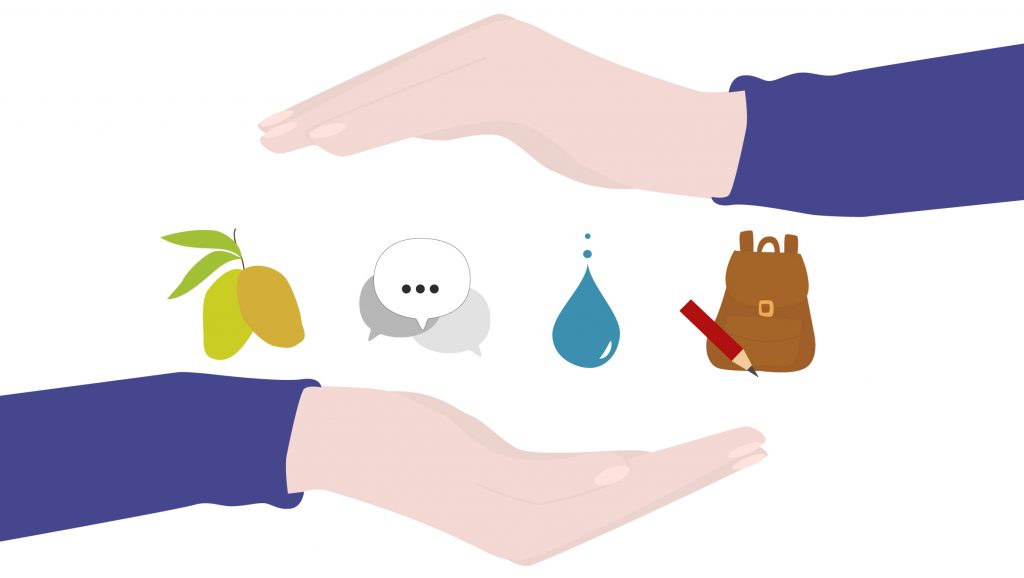 Illustration zweier Hände, die verschiedene Symbole einschließen: Mangos, Sprechblasen, Wassertropfen, Rucksack mit Bleistift