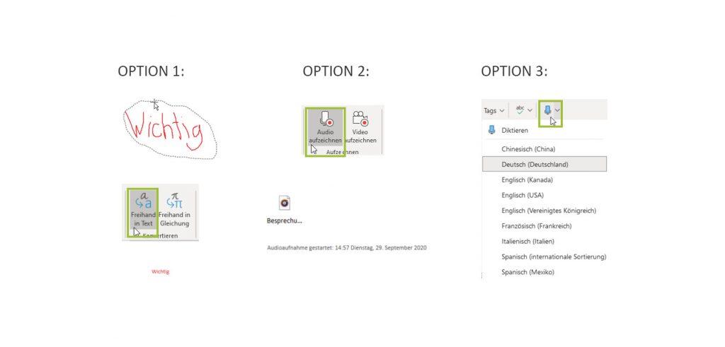 Optionen zur Dokumentation von Informationen in OneNote