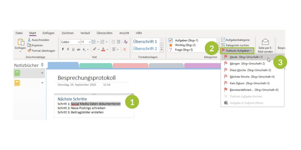 Erstellen von Outlook-Aufgaben aus OneNote