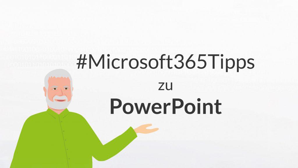 Eine Illustration von Peter präsentiert die Microsoft365-Tipps zu PowerPoint
