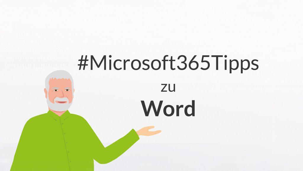 Eine Illustration von Peter präsentiert die Microsoft365-Tipps zu Word