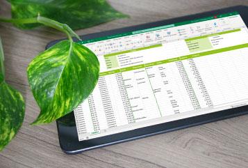 Excel auf einem Tablet