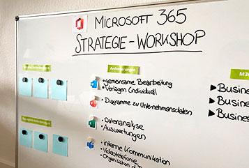 Ein Whiteboard mit Aufzeichnungen zum M365 Workshop