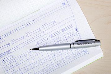 Wireframes in einem Notizbuch